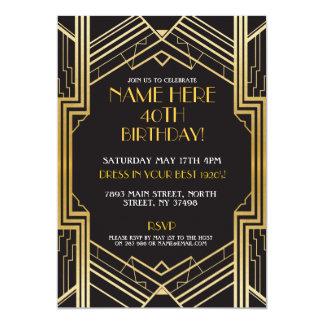 Carte or de partie de Gatsby d'invitation d'anniversaire