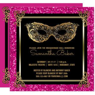 Carte Or de rose de sweet sixteen de boule de mascarade