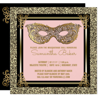 Carte Or de rose de sweet sixteen de la mascarade   du