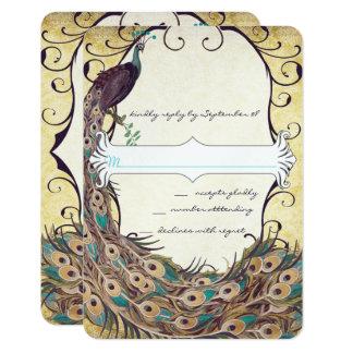 Carte Or et Aqua d'aubergine d'élégance de paon de