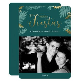 Carte Or et photo de fiestas de Felices de feuille de