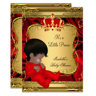 Carte Or fleuri rouge de baby shower ethnique de prince