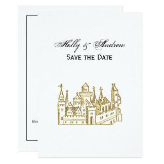 Carte Or héraldique vintage de Faux de crête du château