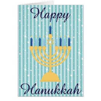 Carte Or Menorah Hanoukka heureux