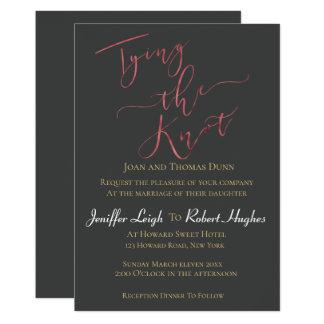 Carte Or rose de calligraphie attachant le mariage