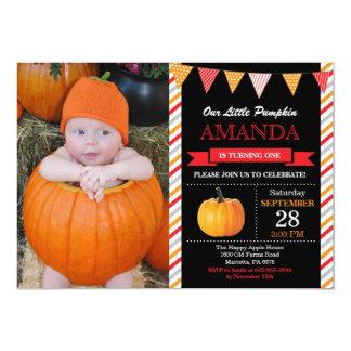 Carte Orange et rouge d'invitation d'anniversaire de