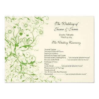 Carte Ordre vert pomme de mariage de remous d'oiseaux de