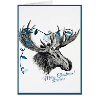 Carte Orignaux idiots de Noël avec les lumières bleues