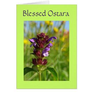 Carte Ostara béni avec des fleurs