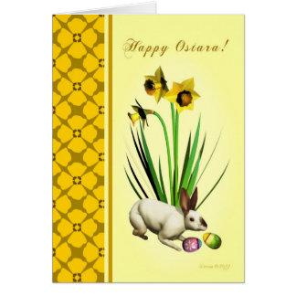 Carte Ostara heureux - équinoxe vernal - jonquilles de