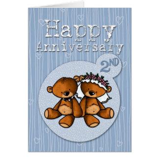 Carte ours heureux d'anniversaire - 2 ans