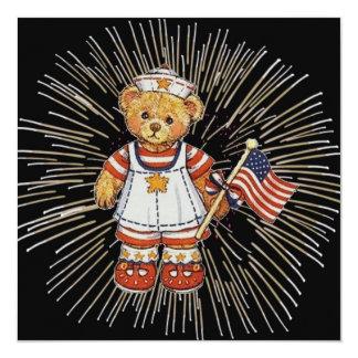 Carte Ours vintage d'infirmière avec les feux d'artifice