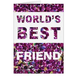 Carte Paillettes de rose du meilleur ami du monde de