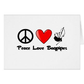 Carte Paix, amour, cornemuses