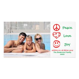 Carte Paix, amour, joie rouge/vert - Photocard
