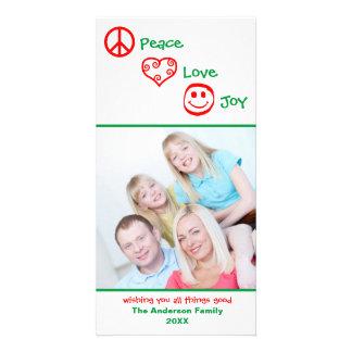 Carte Paix, amour, verticale de joie - Photocard