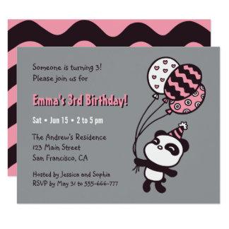 Carte Panda et fête d'anniversaire mignons de filles de
