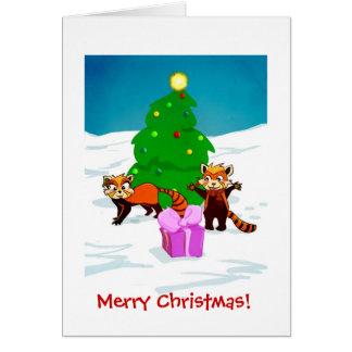 Carte Pandas rouges de Joyeux Noël