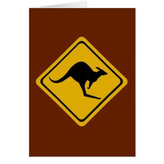 Carte panneau routier de kangourou