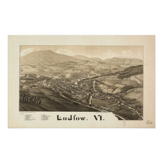 Carte panoramique antique de Ludlow Vermont 1885 Poster