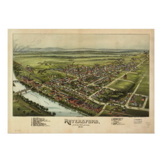 Carte panoramique antique de Royersford Poster