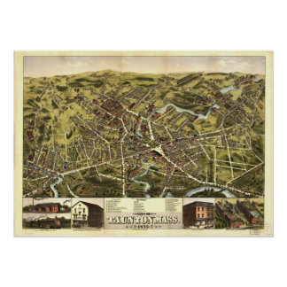 Carte panoramique antique de Taunton le Poster