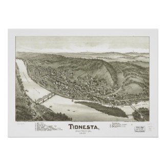 Carte panoramique antique de Tionesta Pennsylvanie Poster