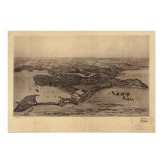 Carte panoramique antique de Winthrop le Poster