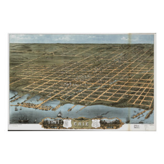 Carte panoramique antique d'Erie Pennsylvanie 1870 Poster