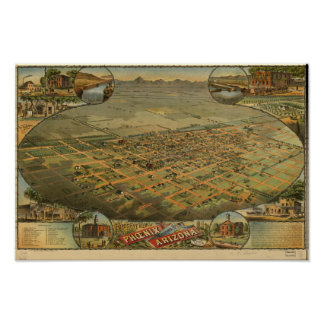 Carte panoramique de Phoenix Arizona 1885 Poster