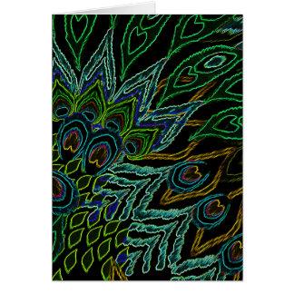 Carte Paon au néon