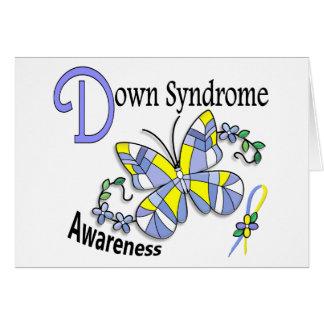 Carte Papillon 2 syndrome de Down en verre souillé