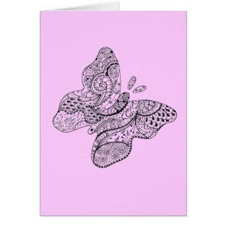 Carte Papillon tatoué dans le rose