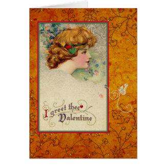 Carte Papillon vintage d'or de fille de Valentine