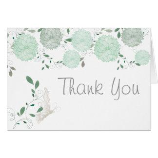 Carte Papillons et Merci vert de chrysanthèmes