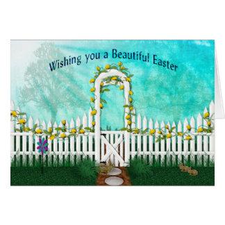 Carte Pâques - jardin avec les roses jaunes/treillis