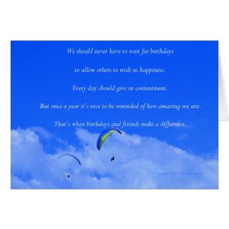 """Carte """"Parachute ascensionnel #13"""" avec le poème : Amis"""