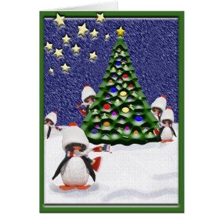 Carte Paradis de Noël de pingouin