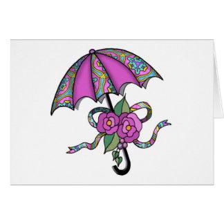 Carte Parapluie avec les roses 02