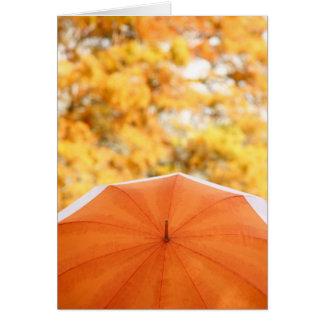 Carte Parapluie et couleurs d'automne