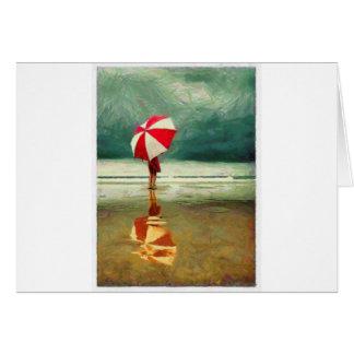Carte parapluie roman de mer de sable de femme