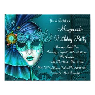 Carte Partie bleue turquoise de mascarade de masque
