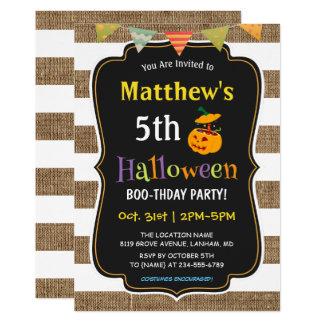 Carte Partie d'anniversaire de enfant de Halloween de
