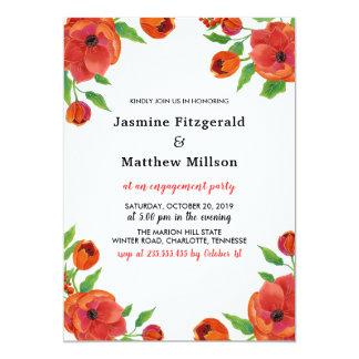 Carte Partie de fiançailles florale des pivoines rouges