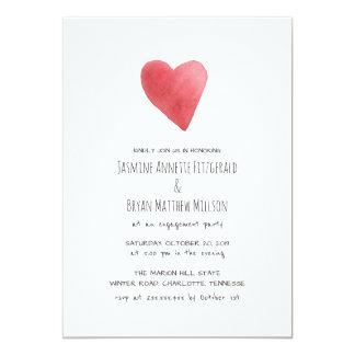 Carte Partie de fiançailles rouge minimaliste de coeur