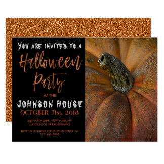 Carte Partie de Halloween avec la typographie orange