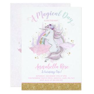 Carte Partie de licorne d'arc-en-ciel d'invitation