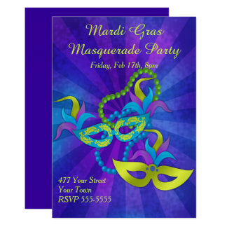 Carte Partie de mascarade de mardi gras