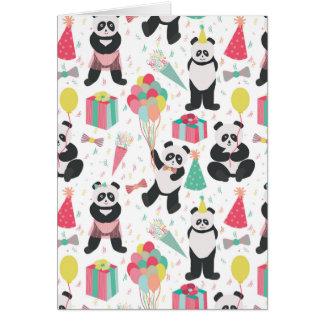 Carte Partie de panda - motif d'anniversaire