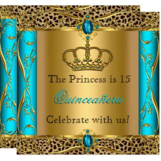 Carte Partie de princesse Regal Teal Leopard Quinceañera
